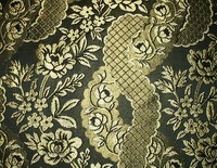 AD1350 Barockdamast Rosen schwarz gold