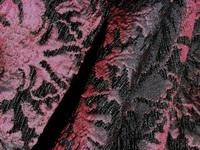 Barockstoff schwarzer Samt mit Seide purpur
