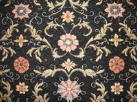 RN2100 Möbelstoff Renaissancebrokat - Stilblütenfülle - Samt schwarz