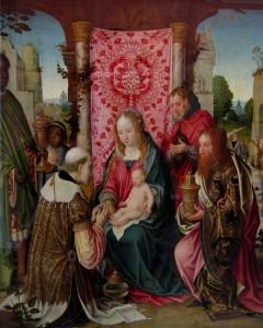 Maria und die Heiligen drei Könige um 1505 mit Granatapfelstoff