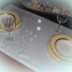 Tischwäsche echter Damast Tischband Läufer weiss-bleu